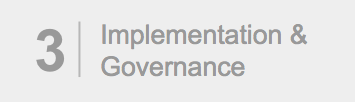 "Gray box with number 3 and the text, ""Implementation & Guidance."" Signals third post in three-part series."