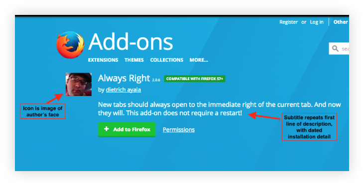 Screenshot of an section of an old, blue product page for the extension, Always Right. The icon is a photo of the developer's face. The subtitle repeats the first line of the long description, with dated installation details.