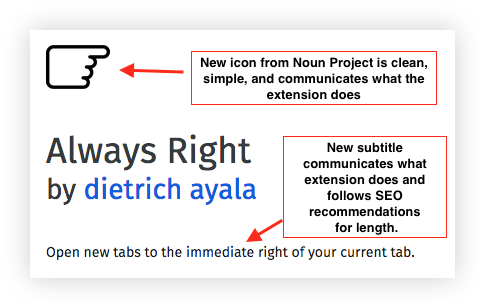 "Screenshot of a section of the revised product information for the extension, ""Always Right."" Incliudes a new icon of a hand pointing right, with the caption:""New icon from Noun Project is clean, simple, and communicates what the extension does."" The revised subtitle, ""Open new tabs to the immediate right of your current tab,"" with the annotation: ""New subtitle communicates what extension does and follows SEO recommendations for length."""