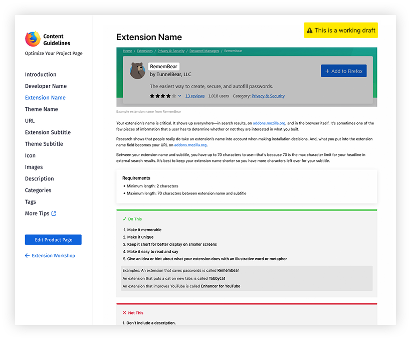 "Screenshot of a sample draft content guidelines page for Extension Name. Includes the extension card for Remembear extension, examples of other successful extension names, a list of ""Do's"" and ""Don'ts"" and requirements."