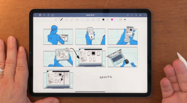 A storyboard drawn on an iPad