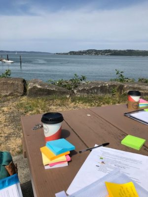 A picnic table overlooking the Puget Sound, with a coffee, a packet, and post-it notes on it