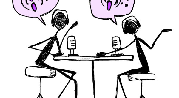A sketch of two podcast presenters arguing