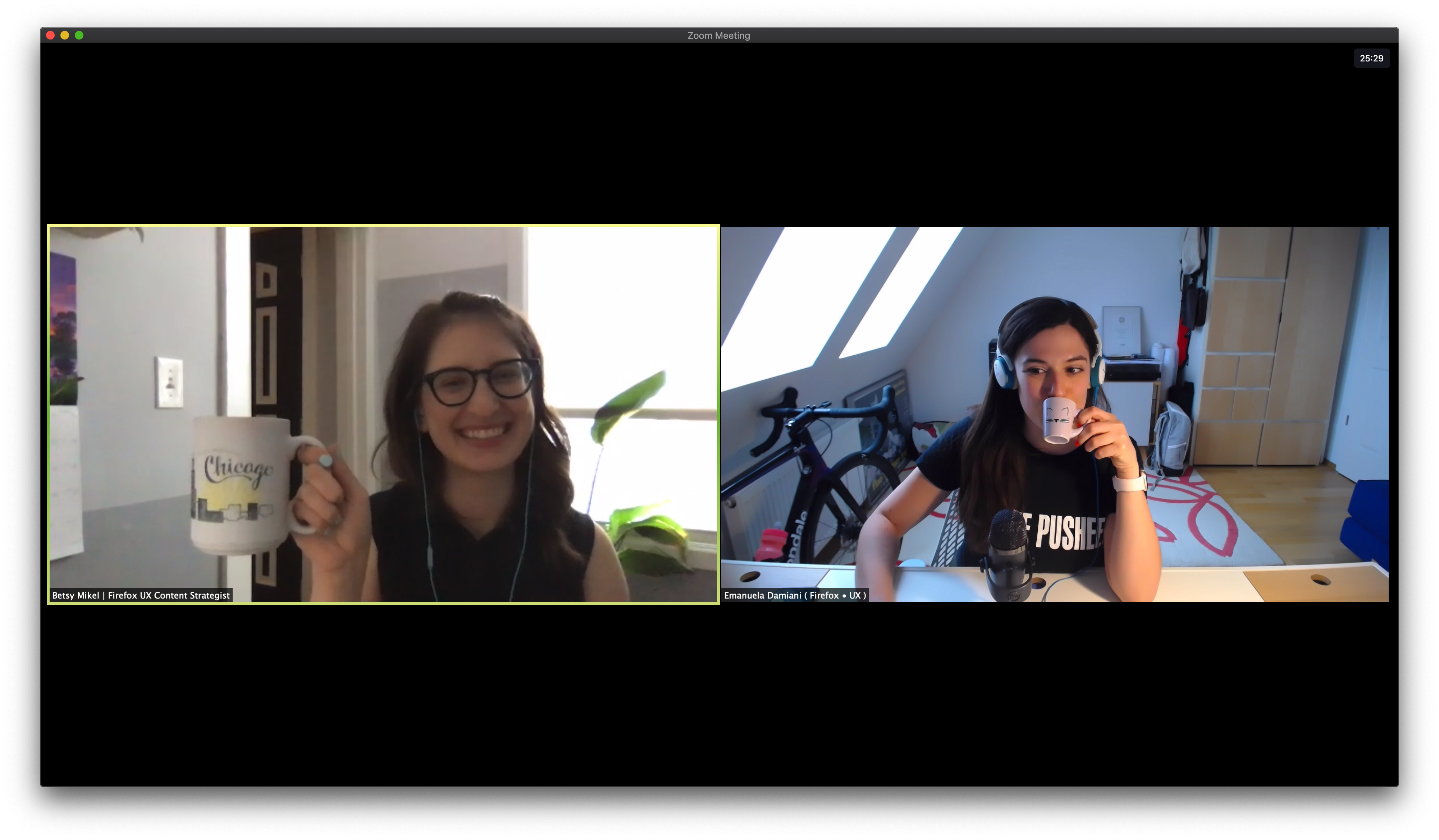 Screenshot of Zoom with Betsy and Emanuela, each holding coffee cups.
