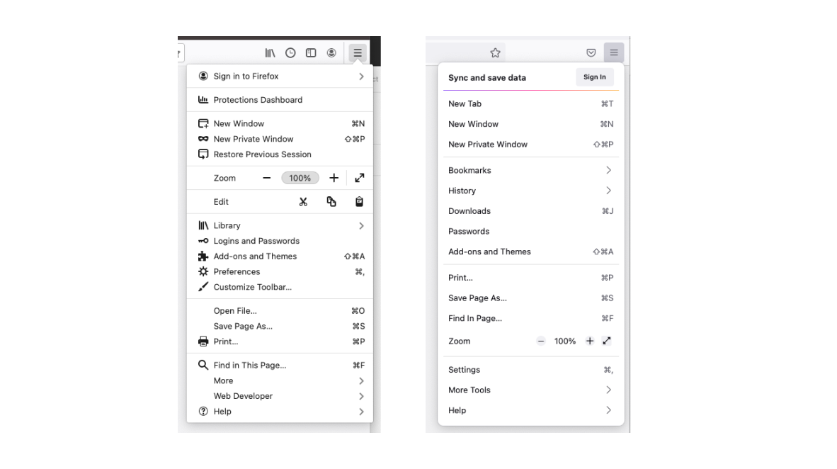 Before and after images of the redesigned Firefox application menu.