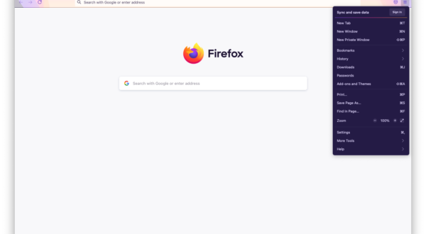 Image of a Firefox browser window with the application menu opened on the right.