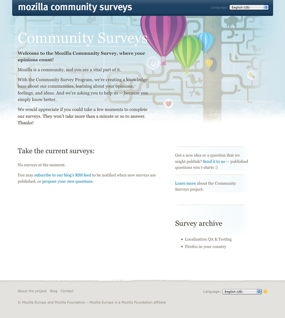 The Mozilla website Mozilla Community Surveys was retired in December 2010.