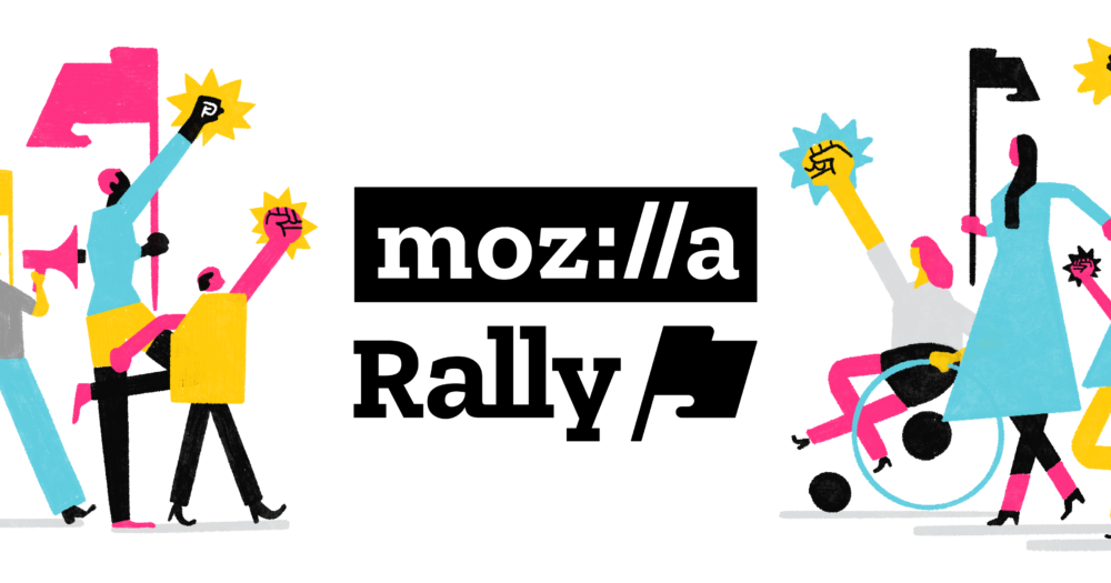 Rally logo, people walking and rolling with their fists held high and flags