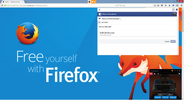 Firefox Hello link sharing