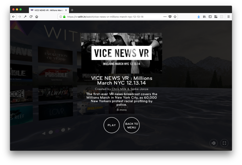 WITHIN uses WebVR to build a VR content distribution platform