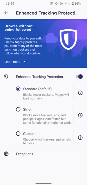 Enhanced Tracking Protection automatically blocks many known third-party trackers, by default, in order to improve user privacy online.